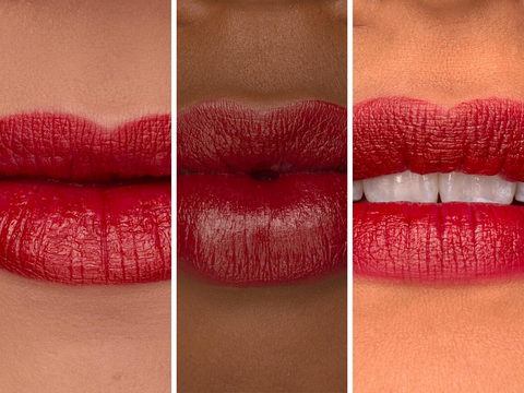 composite closeup of three women wearing red velvet lipstick