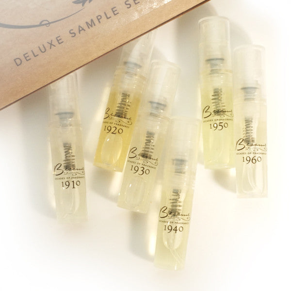 Authentic 1940s Makeup History and Tutorial Decades of Fragrance Sample Set $35.00 AT vintagedancer.com