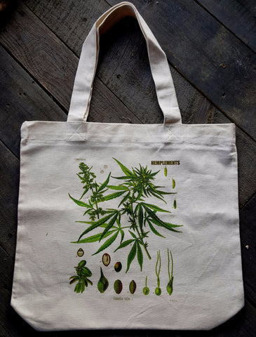 Hemplements Hemp Tote Bag Botanical Print