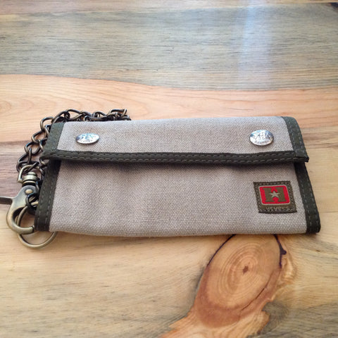 Bi-Fold Trucker Wallet Natural With Green Trim