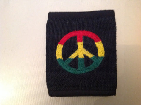 Bi-Fold Wallet Black With Peace Sign