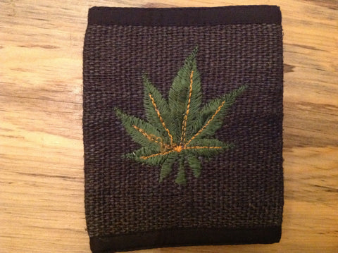 Bi-Fold Wallet Black With Cannabis Leaf