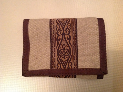 Tri-Fold Wallet Natural With Brown Trim