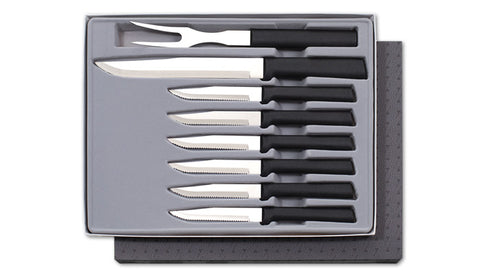 Meat Lovers Gift Set Rada G27S Black Resin Slicer Fork and 6 Serrated Knives