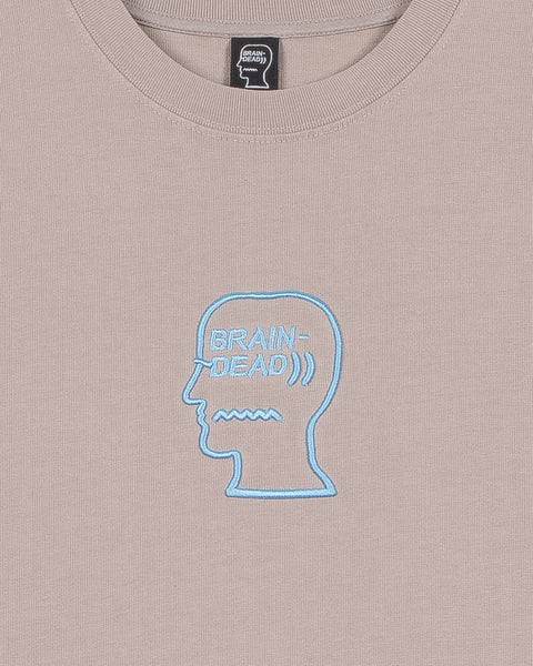 Logo Head Embroidered Heavyweight T-shirt - Tan