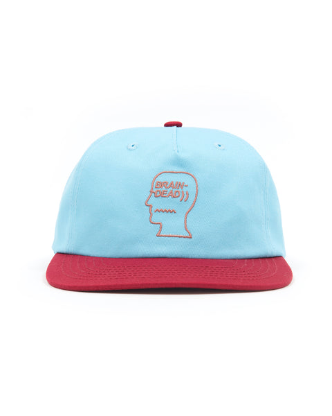 5 Panel Logo Head Strap Back Hat - Blue
