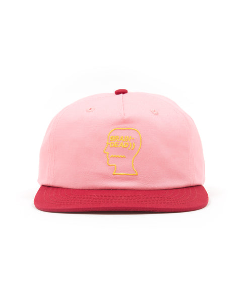5 Panel Logo Head Strap Back Hat - Pink