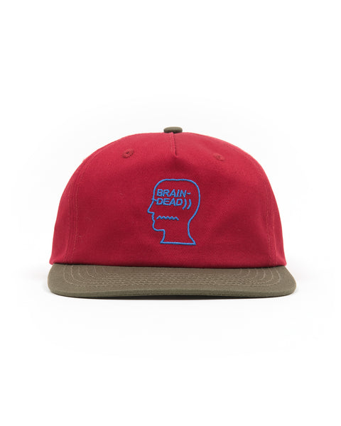5 Panel Logo Head Strap Back Hat - Burgundy