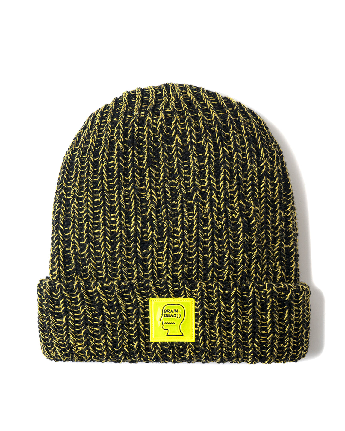 Safety Logo Patch Beanie - Black/Lemon