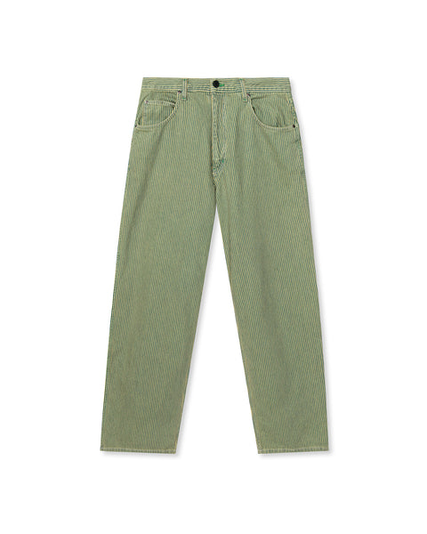 Oversized Wide Leg Railroad Stripe Over Dye Denim Pant - Green