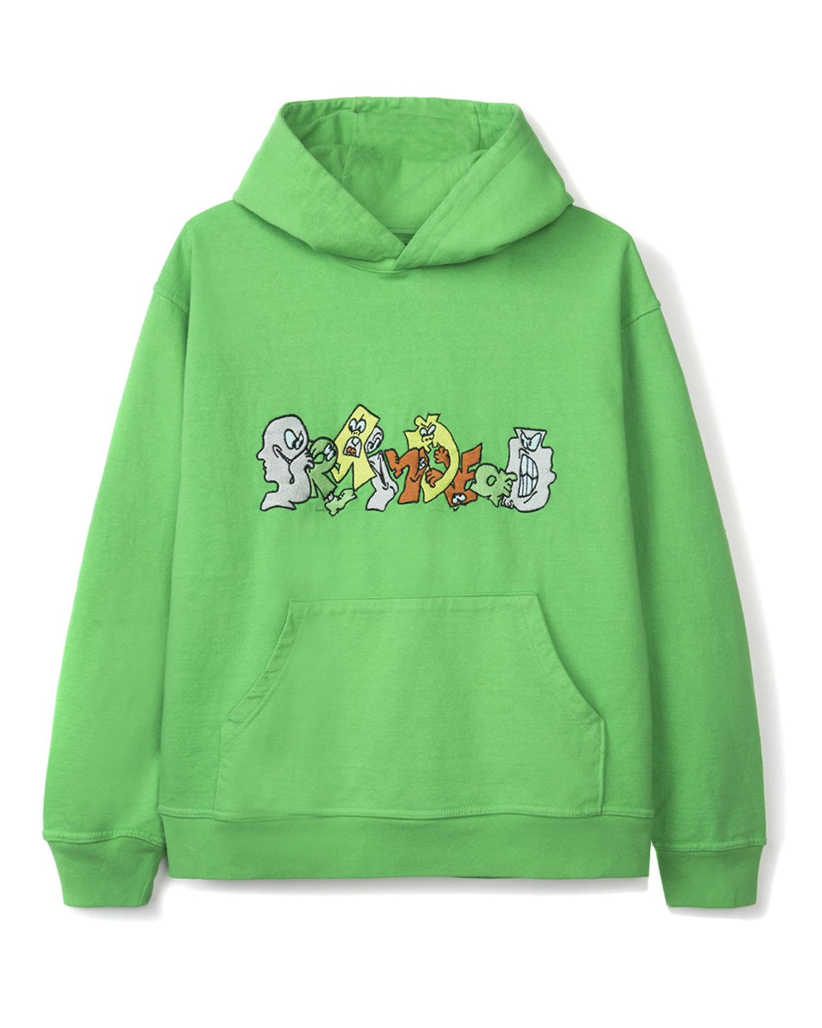 Embroidered Graffiti Hoodie - Kelly Green