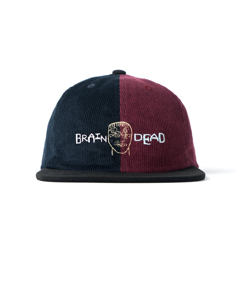 Corduroy Color-blocked strap back Hat - Navy/Maroon/Black