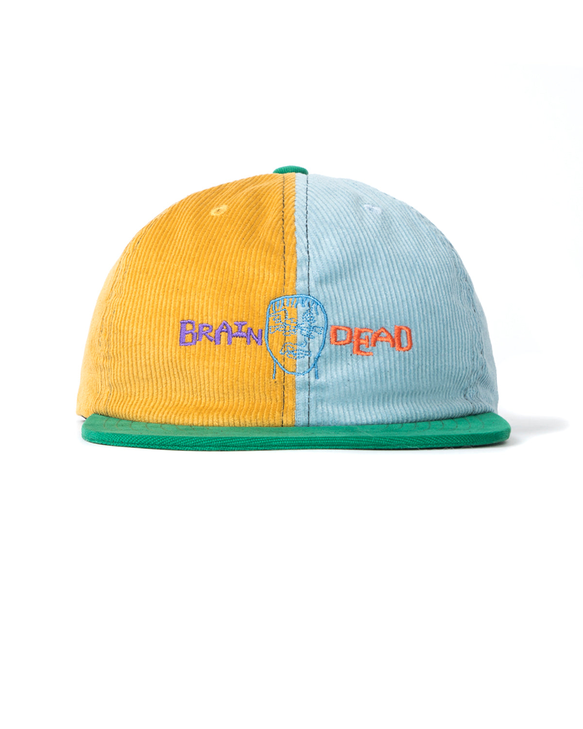 Corduroy Color-blocked strap back Hat - Yellow/Teal/Green