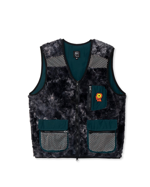 Novelty Dyed Fur Sunflower Tactical Vest - Black