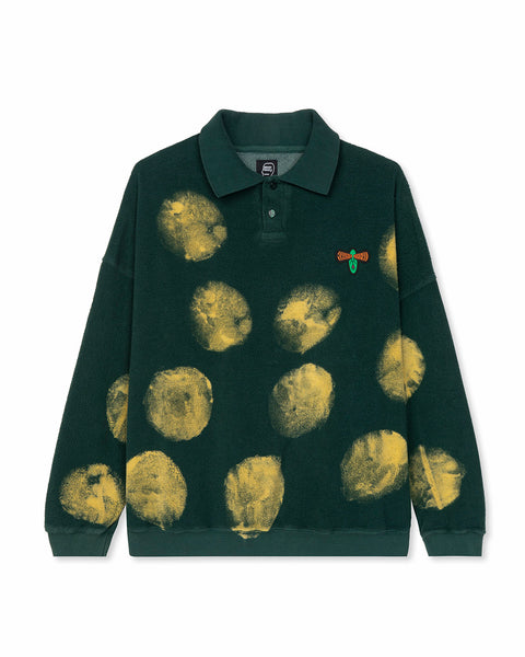Novelty Spray Reverse fleece Polo - Green
