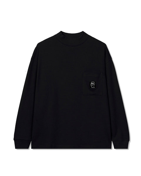 Waffle Knit Mock Neck Long Sleeve Shirt - Black