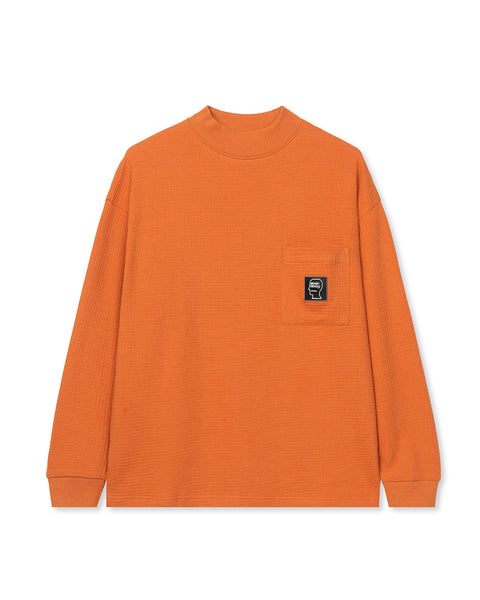 Waffle Knit Mock Neck Long Sleeve Shirt - Orange