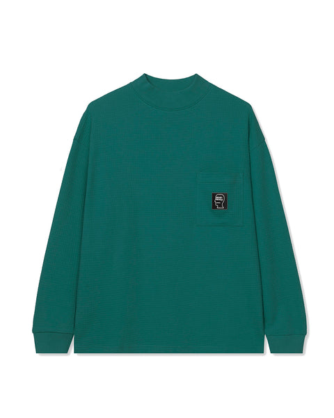 Waffle Knit Mock Neck Long Sleeve Shirt - Teal