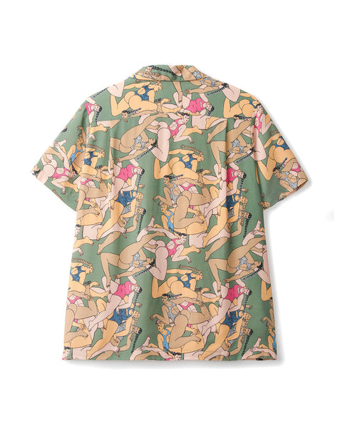 Rayon Hawaiian Shirt - Women Green