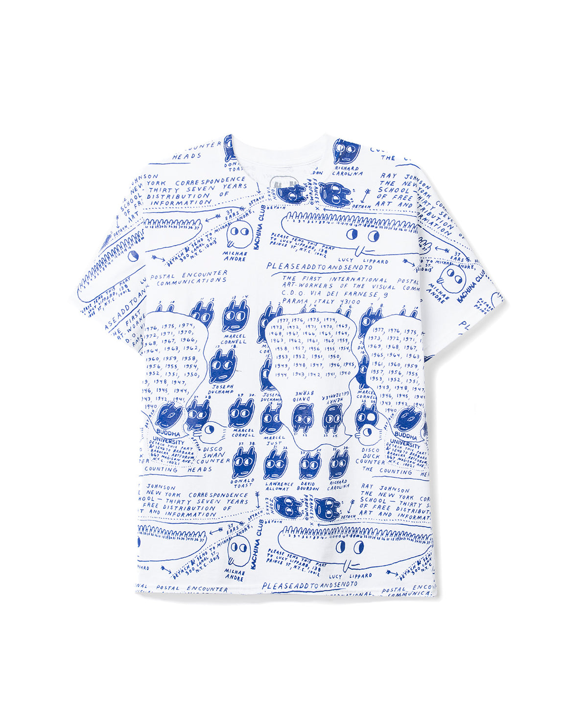 Ray Johnson Estate All-Over-Print T-shirt - Cream/Blue