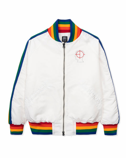Brain Dead Records Embroidered Satin Club Jacket - White