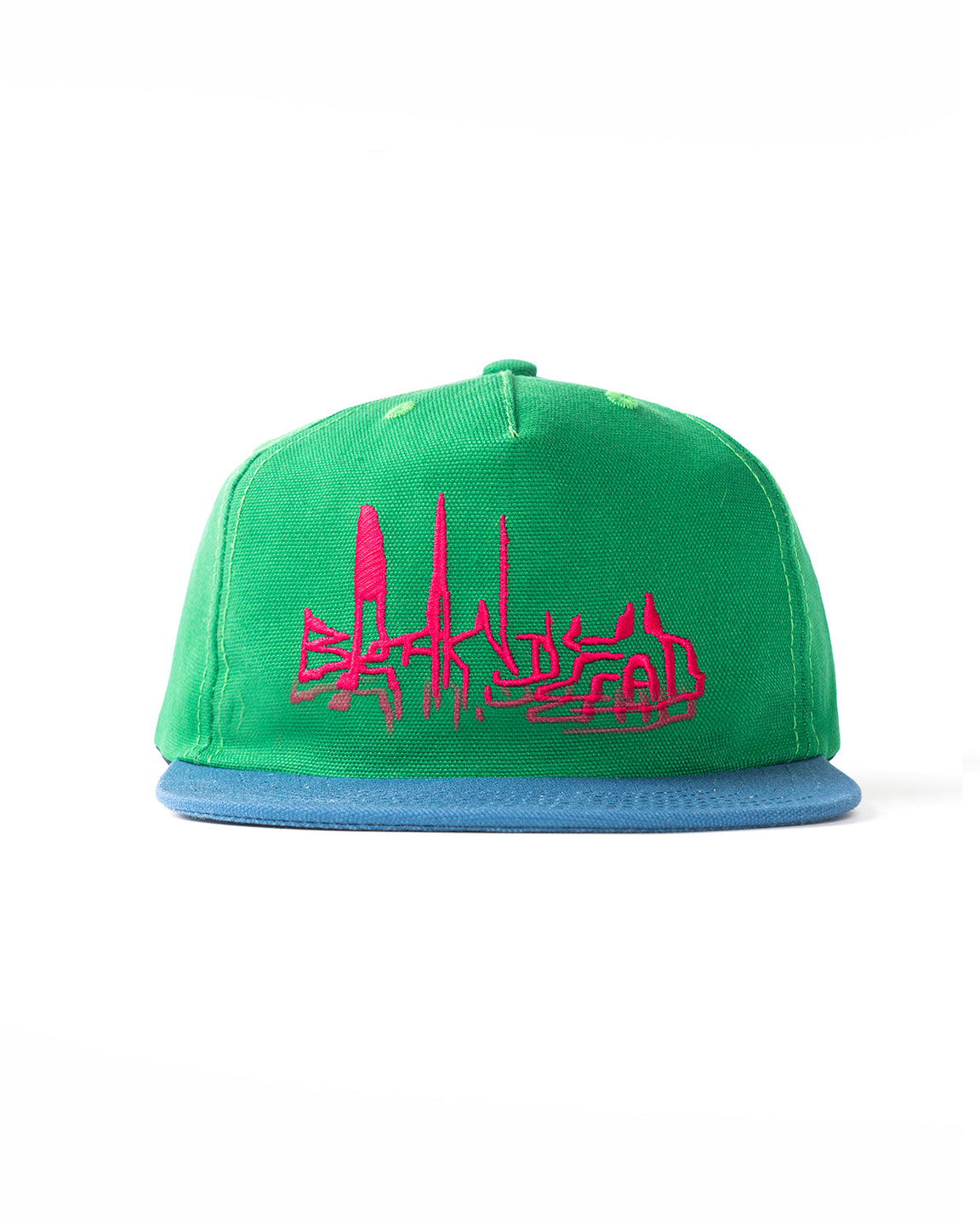 Distorted Text Five Panel Strapback - Green