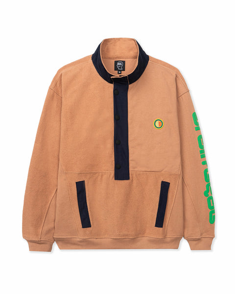 Global Works Snap Mock Neck Pullover - Brown