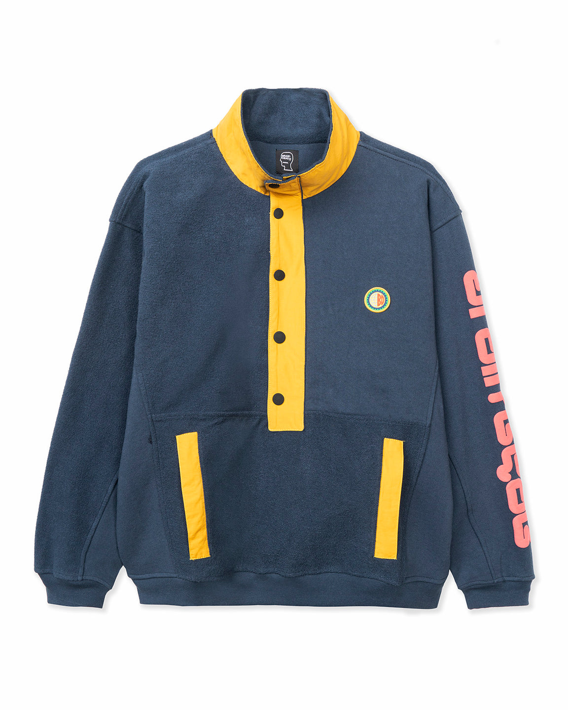 Global Works Snap Mock Neck Pullover - Navy