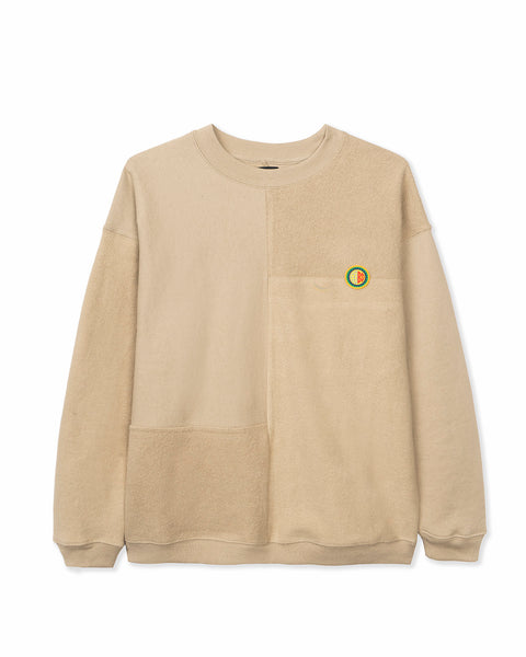 Global Works Split Panel Fleece & Terry Crewneck Sweatshirt - Natural