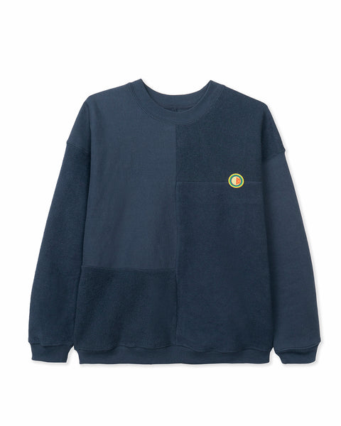 Global Works Split Panel Fleece & Terry Crewneck Sweatshirt - Navy
