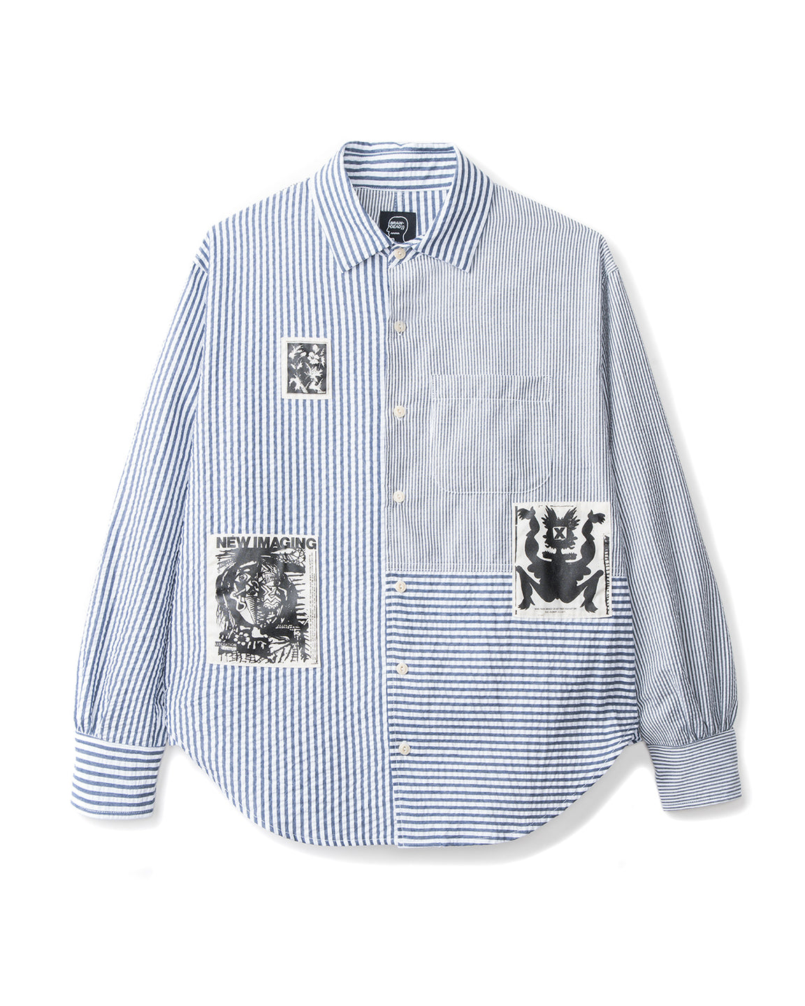 Paneled Button Up - Navy/White Seersucker