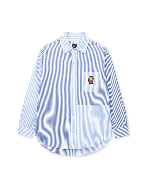 Sunflower Paneled Oxford Button Up Shirting - Blue / white