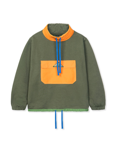 Post Earth Syndrome Scuba Neck Fleece - Military Green Multi