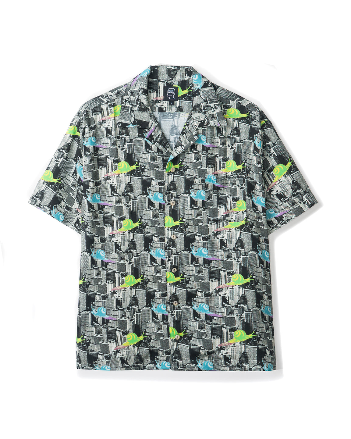 Snail Print Short Sleeve Button-down Hawaiian - Multi