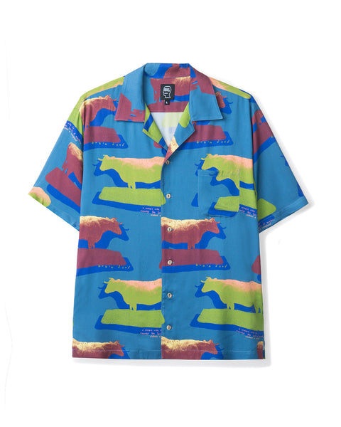 Cow Print Short Sleeve Button-down Hawaiian - Blue