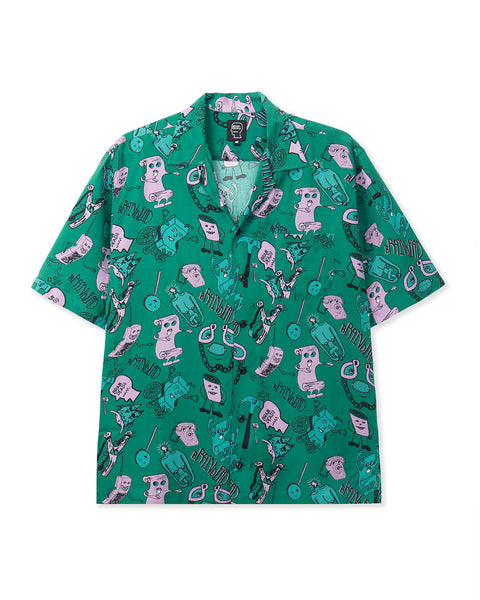 Caricatures Short Sleeve Hawaiian Shirt - Washed Forest