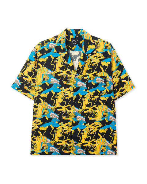 Jonny Negron Bondage Printed Short Sleeve Hawaiian Shirt - Black