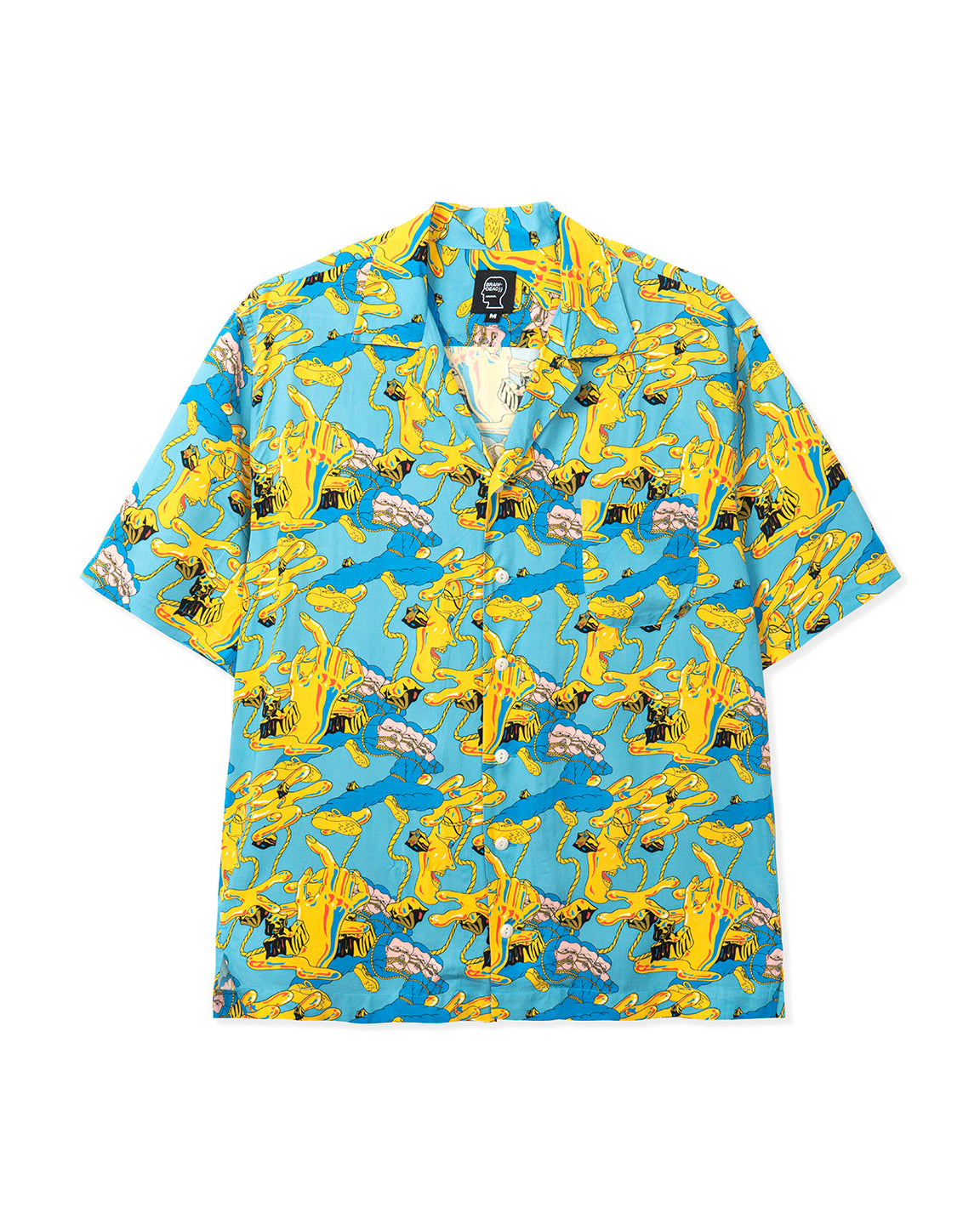 Jonny Negron Bondage Printed Short Sleeve Hawaiian Shirt - Blue