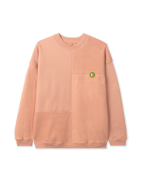 Global Works Split Panel Fleece & Terry Crewneck Sweatshirt - Peach