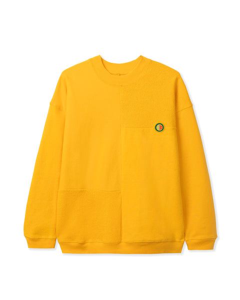Global Works Split Panel Fleece & Terry Crewneck Sweatshirt - Yellow