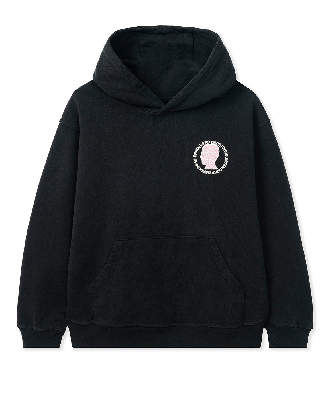 Speed Text Embroidered Logo Head Hooded Sweatshirt - Black
