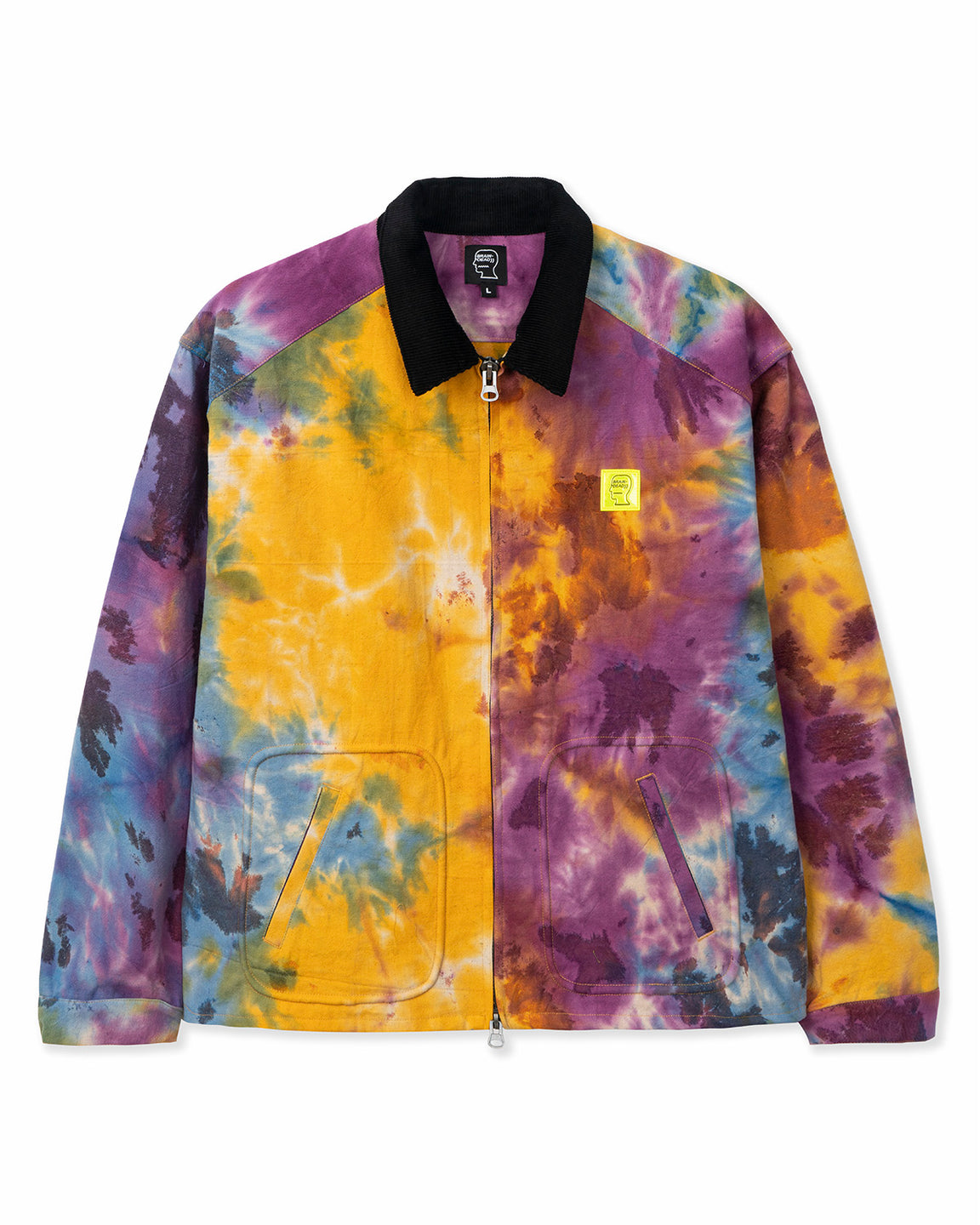 Contrast Corduroy Collar Harrington Jacket - Tie Dye