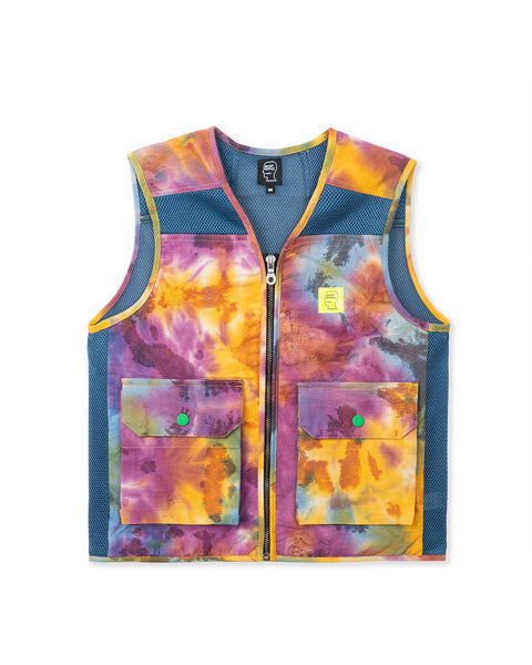 Dyed Canvas Spacer Mesh Tactical Vest - Tie Dye