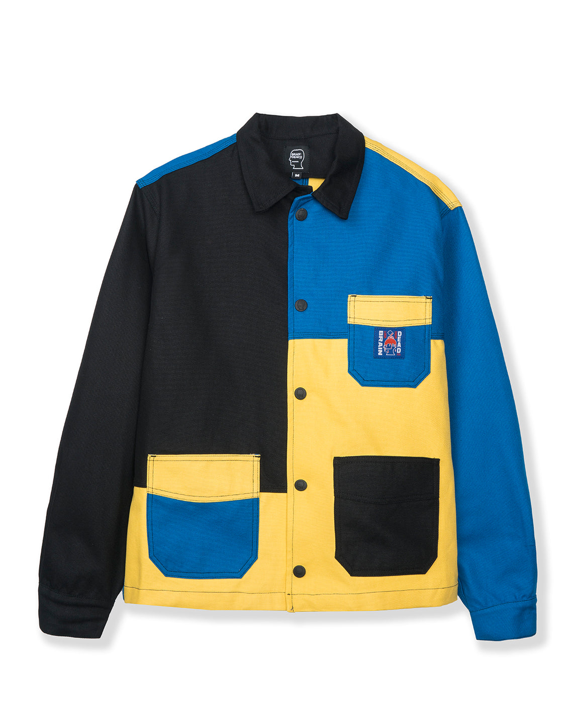 Colorblocked Canvas Chore Coat - Yellow/Blue/Black