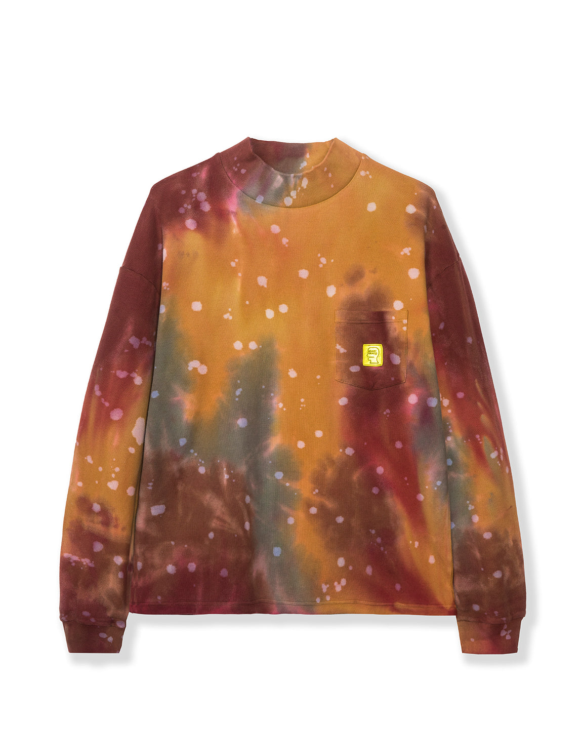 Dyed Pique Mock Neck Long Sleeve - Red/Multi