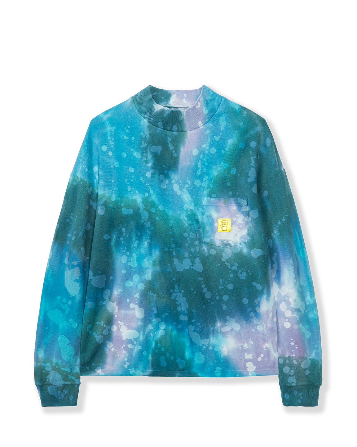Dyed Pique Mock Neck Long Sleeve - Blue/Multi