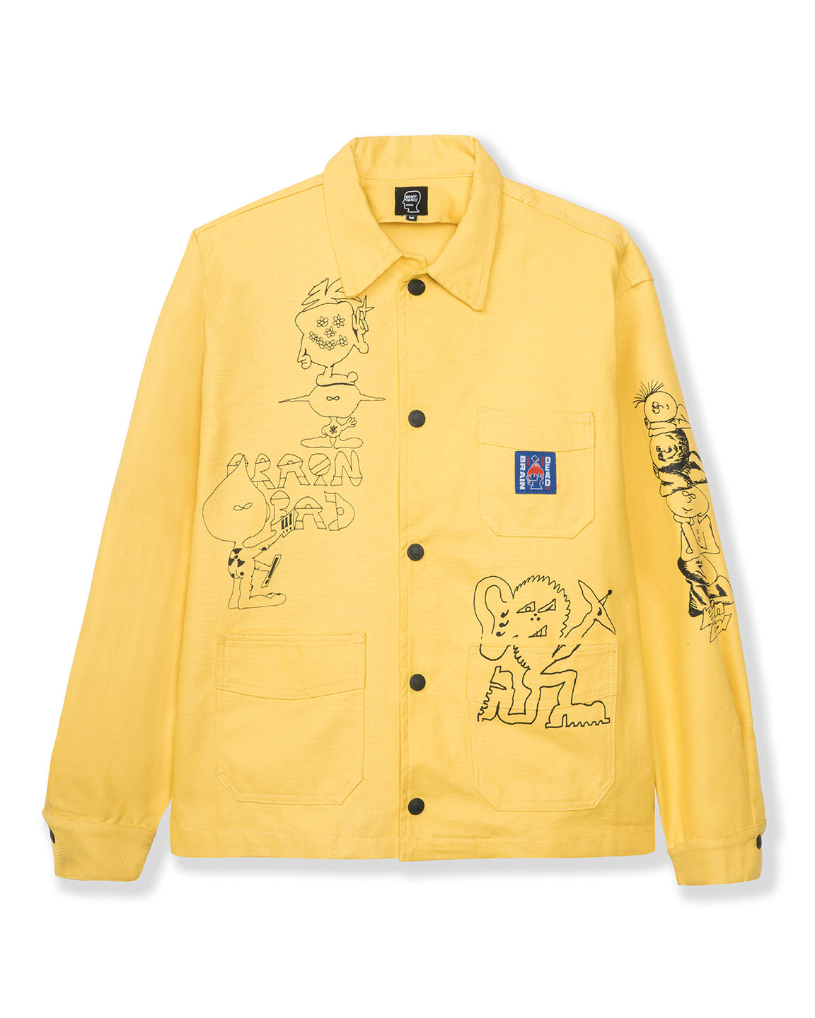 Printed Canvas Chore Coat - Light Yellow