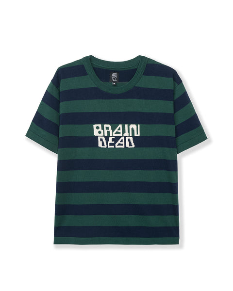 Merino Splatt Short Sleeve Stripe Sweater - Green/Blue