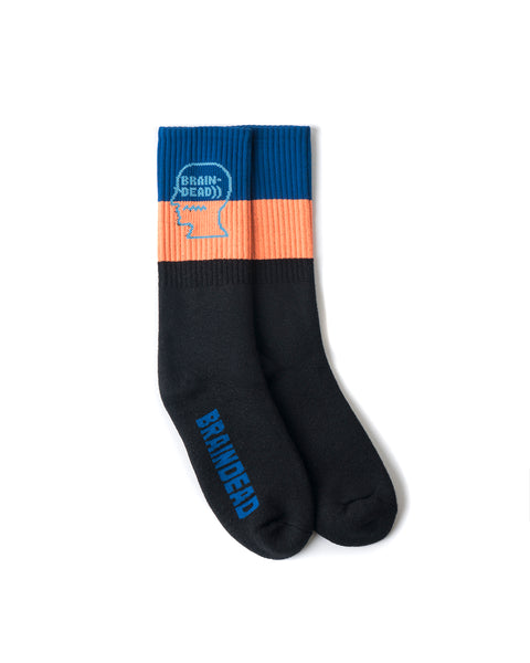 Striped Logo Head Socks - Blue/Orange/Black