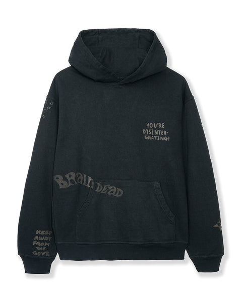 Tonal Type Print Hooded Sweatshirt Hoodie - Black